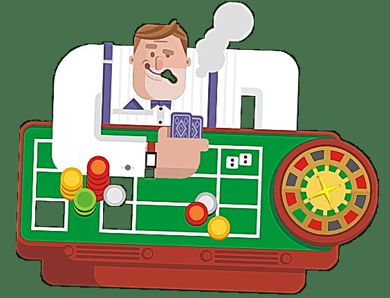 gambler at green table in casino