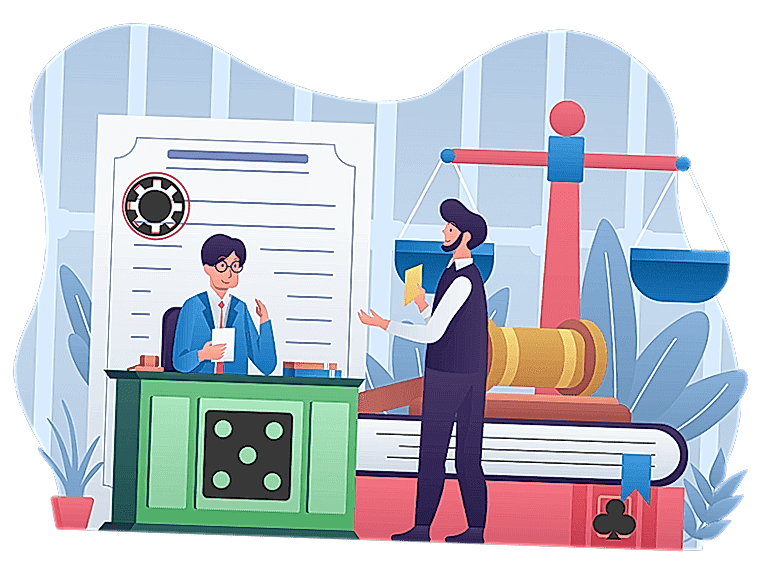 Lawyer and client illustration