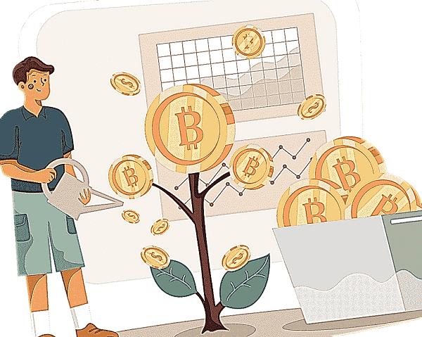 man watering bitcoin illustration