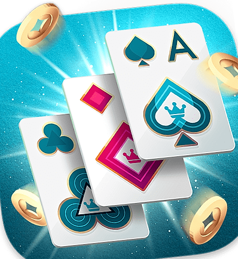 Three Poker cards and coins